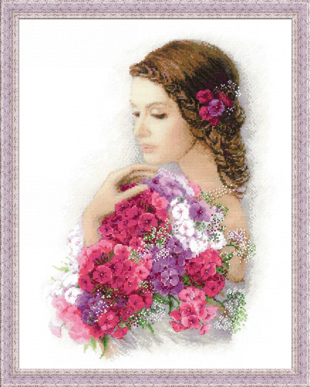 Девочки с цветами для вышивки 353
